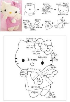 Free Hello Kitty Angel Felt Sewing Pattern / Template
