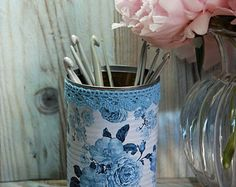 Vintage Cottage rosas Shabby Chic estilo Tin por AuntieShrews