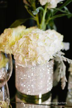 white crystal rhinestone reception wedding flowers,  wedding decor, wedding flower centerpiece, wedding flower arrangement, add pic source on comment and we will update it. www.myfloweraffair.com can create this beautiful wedding flower look.