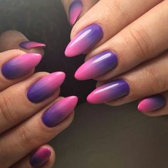 Purple and pink nails, pink ombre nails, almond acrylic nails, umbre nails Purple And Pink Nails, Almond Nails Pink, Nails Yellow, Blue Ombre Nails, Almond Acrylic Nails, White Nails, Ombre Nail Designs, Nail Art Designs, Umbre Nails