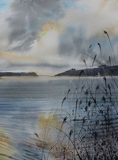 Original Watercolour seascape of cornwall sea and sky with storm cloud, cornish art, water shimmer, lake, reeds and grasses. Loe pool by PenstoneArt on Etsy