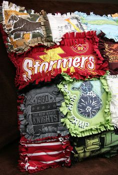 You could totally do a new-sew t-shirt pillow instead of trying to make those quilts, especially with shirts that have a smaller logo and lots of extra fabric on the sides.