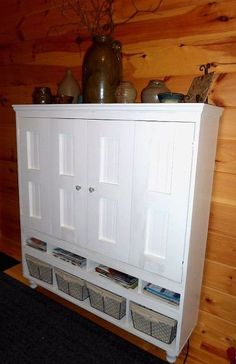 the hubster was too slow to build an armoire for the flat screen t v, painted furniture, storage ideas
