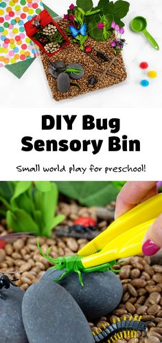 Preschoolers and toddlers will enjoy playfully learning all about insects and bugs with this easy and fun bug sensory bin! #preschool #toddlers #ideas #bugsensorybin #preschoolbugideas #sensorybin via @firefliesandmudpies Sensory Tools, Sensory Bins, Sensory Activities, Sensory Play, Activities For Kids, Small World Play, Lego Design, Play To Learn, Easy Crafts For Kids