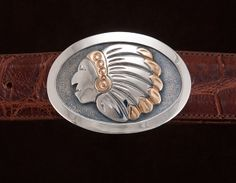 """Iconic silver and 14kt gold buckle for 1.5"""" or 1.25"""" belt."""