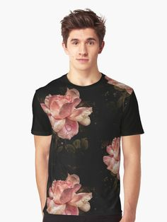 Beautiful close up shot of a pink #rose with dewdrop and #dark background • Also buy this #artwork on #apparel, #stickers, #phonecases, and more. #tshirts #tees #flowers #redbubble