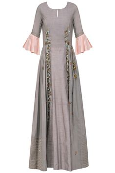 Shikha and Nitika presents Dark Grey frilled sleeves anarkali available only at Pernia's Pop Up Shop. Indian Designer Outfits, Indian Outfits, Designer Dresses, Designer Clothing, Robes Western, Western Dresses, Robe Anarkali, Indian Gowns, Indian Wear