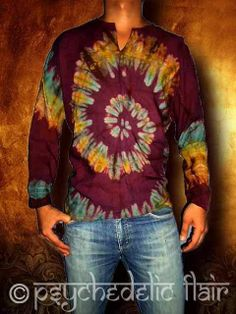 MEN'S TIE DYE LONG SLEEVE HENLEY SHIRT NEW CASUAL BATIK BOHO HIPPY PFT9158 sz XL