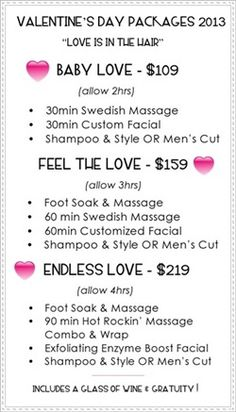 Valentine Spa Packages! This is a steal...