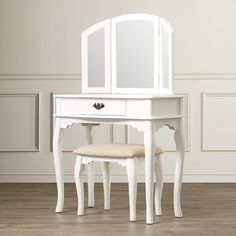 Features:  -Set includes vanity table, stool, and mirror.  -Single-drawer table for storage.  Product Type: -Vanity set.  Style: -Traditional.  Number of Items Included: -3.  Mirror: -Yes.  Drawers In