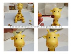 to make a Giraffe Tutorial in German, but the step-by-step photos are easy to understand.How to make a Giraffe Tutorial in German, but the step-by-step photos are easy to understand. Fondant Giraffe, Giraffe Cakes, Fondant Animals, Zoo Birthday Cake, Animal Birthday Cakes, Circus Birthday, Cake Topper Tutorial, Fondant Tutorial, Fondant Cake Toppers