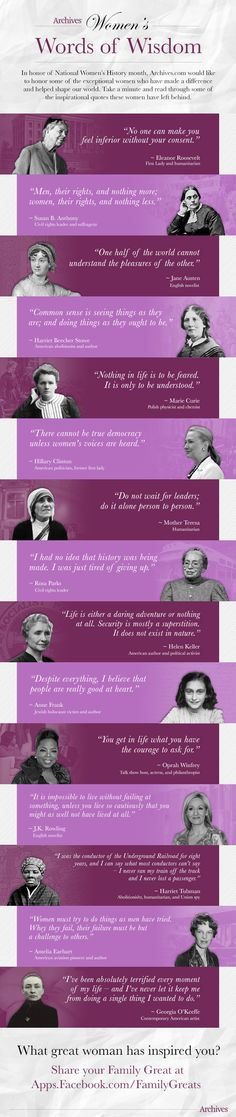 Inspirational quotes from the women who have gone before us. #wordsofwisdom
