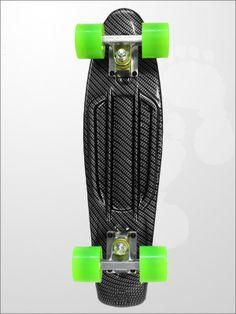 Edge Series Prints Retro Cruiser Skateboard 22inch Carbon Fiber Black | twobarefeet.co.uk