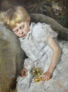 """Hanna Frosterus-Segerstråle (1867-1946) - """"Pieni häävieras""""/""""A Little Wedding Guest"""" - pastelli"""