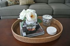 Olive Lane: Easy Coffee Table Styling, but with a mirrored wood tray