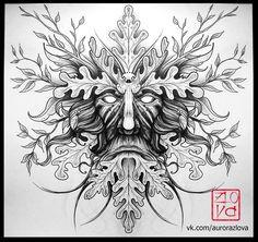green man tattoo sketch linework dotwork celtic blackwork illustration aurora zlova