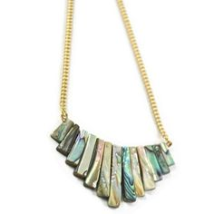 """Crystal and Sage - Vergoldetes Collier """"Abalone"""""""