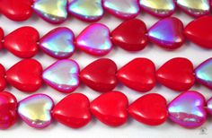20 Red AB Glass Heart Beads. Starting at $5 on Tophatter.com!