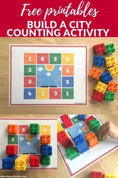 Build a city counting activity with LEGO DUPLO | Construye una ciudad contando ladrillos LEGO | www.legoactivities.com