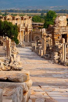 Marble paved street of Curetes in the ancient town of Ephesus, Turkey.