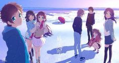 "Tags: ""black hair"" ""blue eyes"" ""brown hair""  ""scarf"" Source: ""Nagi no Asukara"" ""Nichijou"""