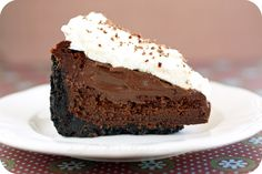 I didn't think it was possible, but after the tartlets, scones, rugelach and now this mud pie all in less than a month, I'm at chocolate ov. Tart Recipes, Dessert Recipes, Desserts, Avocado Chicken Recipes, Vegetarian Pie, Mississippi Mud Pie, Recipe Filing, I Love Chocolate, Cookie Frosting