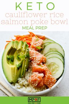 Paleo meals 481111172694106652 - Keto Cauliflower Rice Salmon Poke Bowl Meal Prep recipe – Keto poke bowl with wild salmon, crunchy raw veggies, and cauliflower rice. A delicious keto dinner recipe or keto lunch recipe! Salmon Recipes, Raw Food Recipes, Lunch Recipes, Keto Recipes, Dinner Recipes, Healthy Recipes, Salmon Meals, Coctails Recipes, Food Tips