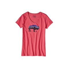 Women's Patagonia Fitz Roy Bison Cotton/Poly V-Neck T-Shirt (1.680 RUB) ❤ liked on Polyvore featuring tops, t-shirts, red, v neck t shirts, graphic t shirts, patagonia t shirt, graphic design t shirts and short sleeve shirts
