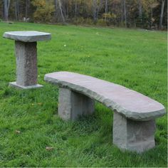 Benches and bird baths by Keith Elliott Stone
