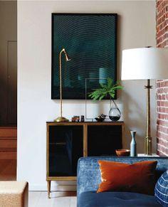 designer Steven Volpe, Marc du Plantier cabinet, Christian Marclay photograph, Jansen brass lamp, T. H. Robsjohn-Gibbings brass-and-marble lamp