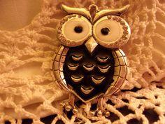 Black Rhinestone Owl AlloyPendant with Clear by ItIsSoShabbyChic