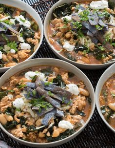There's nothing quite like a big bowl of chili, piled high with delicious toppings. White chili is unique in a few ways: it typically showcases poultry (we chose turkey), and swaps out darker beans for white, like cannellini.