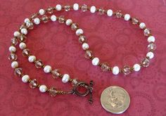 White Freshwater PEARL Smokey Faceted Crystal Copper Bronze Necklace  #BUSYBEEBUMBLEBEADS #Beaded