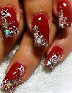 Snow Flakes ** Snow Flakes ** Christmas nails are that necessary component of your good vacation look. that's why we have a tendency to are suggesting to your attention this recent Christmas nail art. Holiday Acrylic Nails, Holiday Nail Art, Winter Nail Art, Winter Nails, Holiday Makeup, Cute Christmas Nails, Xmas Nails, Trendy Nails, Cute Nails