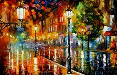 A painting by L. Afremov. Lovely vibrant colors that just explodes off the canvas.