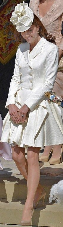 HRH Catherine, The Duchess of Cambridge: in her totally gorgeous Alexander McQueen coatdress, The Garter Service parade. June, 18th, 2012.