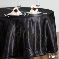 10pcs Customized Black 108u0027u0027Round Dining Tablecloth Satin Table Cloth For  Weddings Party Decoration