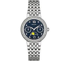 Bulova Diamond Accent Stainless Steel Moon Phase Watch