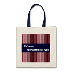 Best Grandmom Custom Name Red Stripes and Navy Canvas Bags   To see more customizable striped Jaclinart gift items:   http://www.zazzle.com/jaclinart+striped+gifts?st=date_created&ps=120  #stripes #striped #pattern #jaclinart #design #create