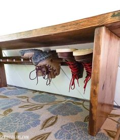 Bench with built-in Boot Rack - Sawdust Girl® #shoestorage #bootrack #shoeorganization Repurposed Wood Projects, Small Wood Projects, Diy Projects, Boot Rack, Sawdust Girl, Furniture For Small Spaces, Home Addition Plans, Woodworking Projects Diy, Diy Furniture Plans Wood Projects