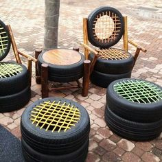 Have a lot of tires laying around? Well make a patio set using twine and tires. Very cool.