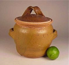 KAREN KARNES - MUSEUM QUALITY LIDDED STONEWARE POTTERY LIDDED JAR  Purchased New in 1970 - Mint - Signed