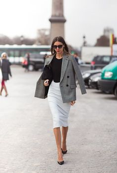 Love the Black Tee and Gray Hounds-tooth Blazer paired with a beautiful White pencil skirt. Stunning!