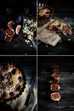 FIKONKAKAN:  cake with figs . Feigen. figues | Food. Art + Style. Recipe + Photography: Food on black by Helena Junggren |