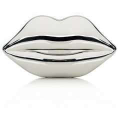 Lulu Guinness Silver Mirror Perspex Lips Clutch found on Polyvore featuring bags, handbags, clutches, bolsas, silver, torebki, metallic handbags, silver clutches, lips handbag and silver purse
