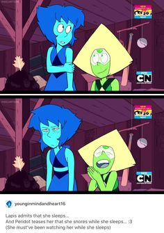 To me, this picture just makes it look like Lapis is annoyed that Powerpuff Girls is on next, and Peridot is laughing and clapping about it