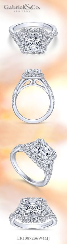 Gabriel & Co.-Voted #1 Most Preferred Fine Jewelry and Bridal Brand. 14k White Gold Princess Cut Halo  Engagement Ring