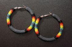 Gray Native American Beaded Hoop Earrings