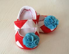 Red White and Blue Chevron maryjane baby girl shoes toddler newborn velcro strap booties Flower slippers SWAG shower gift. $33.00, via Etsy.