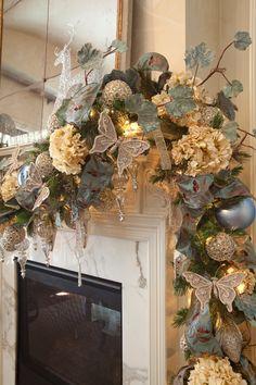 Really pretty mantel treatment---Christmas Interior - traditional - living room - houston - Regina Gust Designs